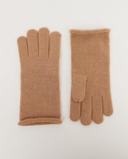 Bruine handschoenen Pieces - met metaaldraad - Pieces