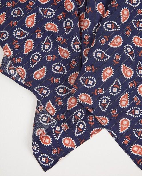 Strickware - Blauer Schal mit Paisleymotiv