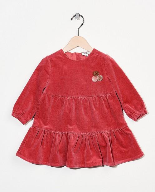 Robe en velours côtelé rouge - avec pompons - Cuddles and Smiles
