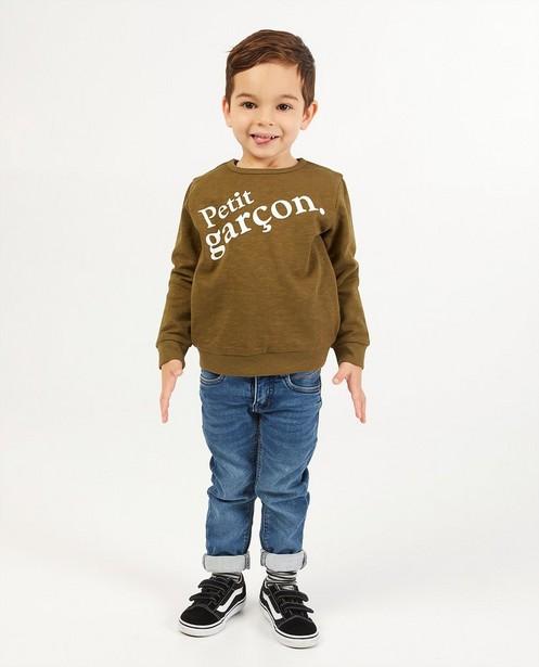 Groene sweater met print BESTies - opschrift - Besties
