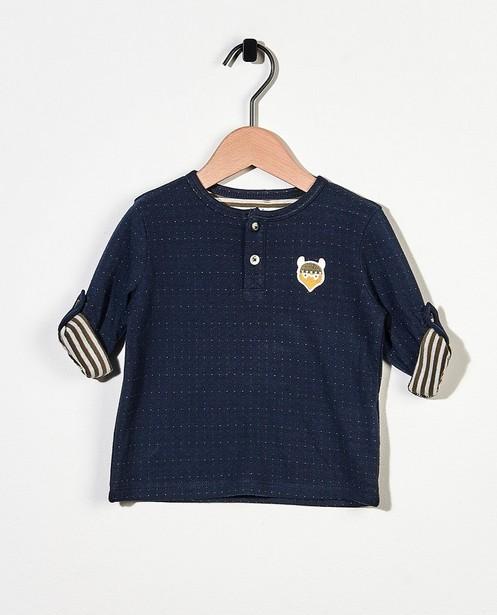 T-shirt bleu à manches longues en coton bio - à pois - Cuddles and Smiles