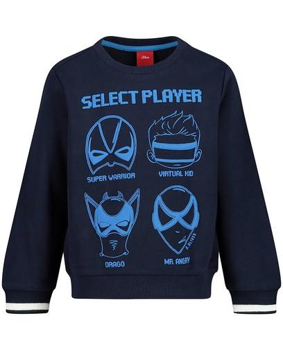 Blauer Sweater mit Print s.Oliver