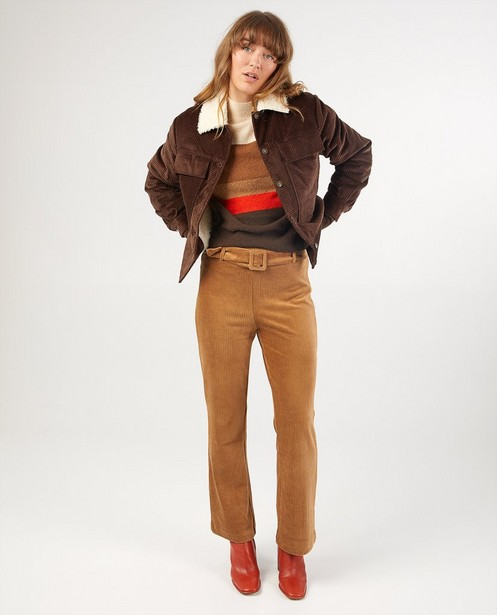 Manteau en velours côtelé Karen Damen - en brun foncé - Karen Damen