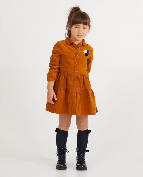Bruine jurk van ribfluweel - fijne ribbels - Milla Star