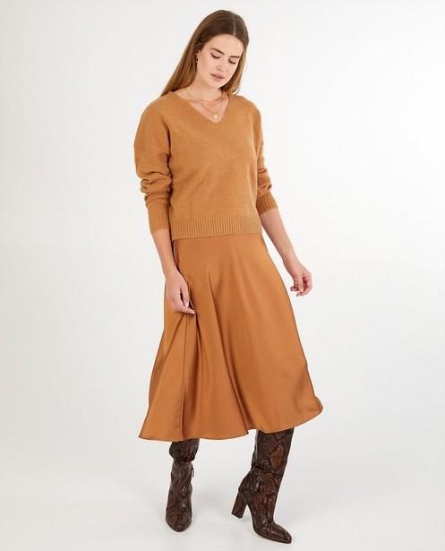 Pull brun clair Sora - fin tricot - Sora