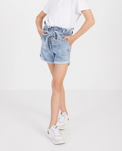 Blauwe short met paperbag waist