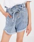 Shorts - Short bleu, paperbag waist