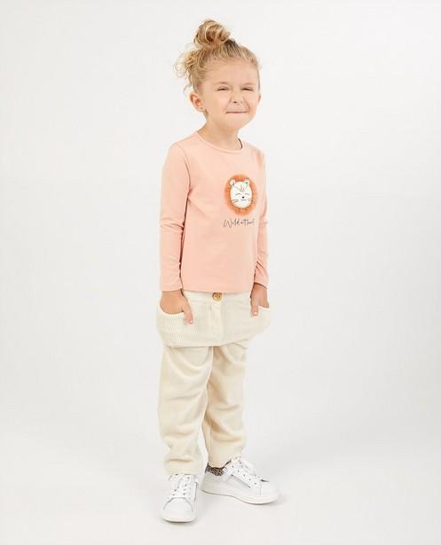 T-shirt rose à manches longues en coton bio - avec imprimé - Milla Star
