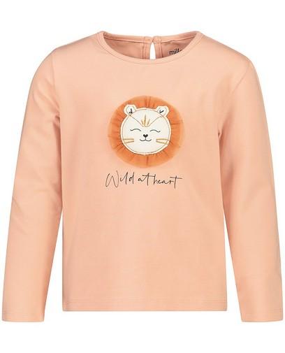 T-shirt rose à manches longues en coton bio