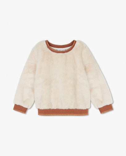 Ecru sweater van fake fur