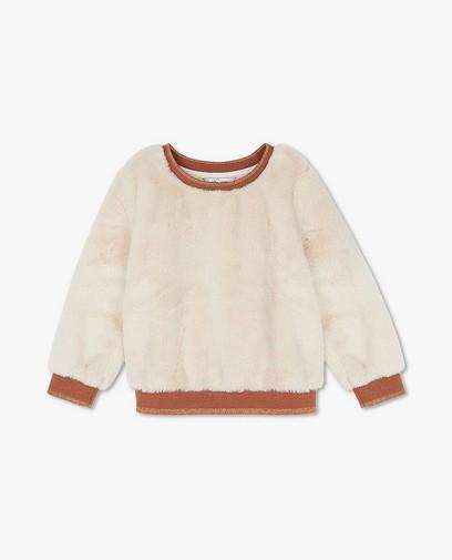 Ecrufarbener Sweater aus Kunstpelz