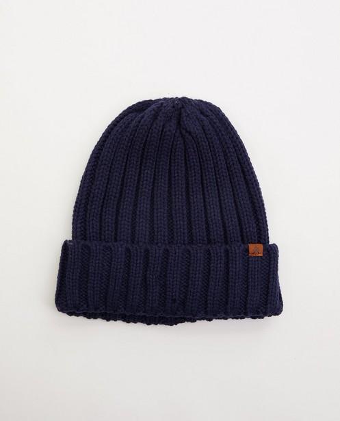 Bonnet bleu foncé à relief côtelé - tricot à grosses mailles - JBC