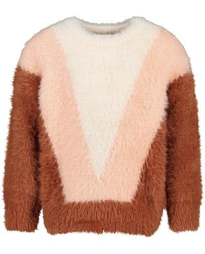Pluizige trui met color block