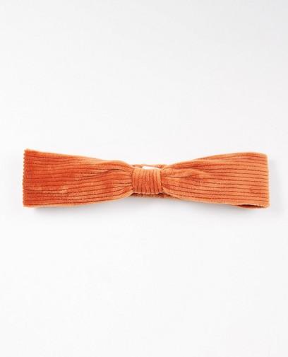 Ribfluwelen haarband in oranje