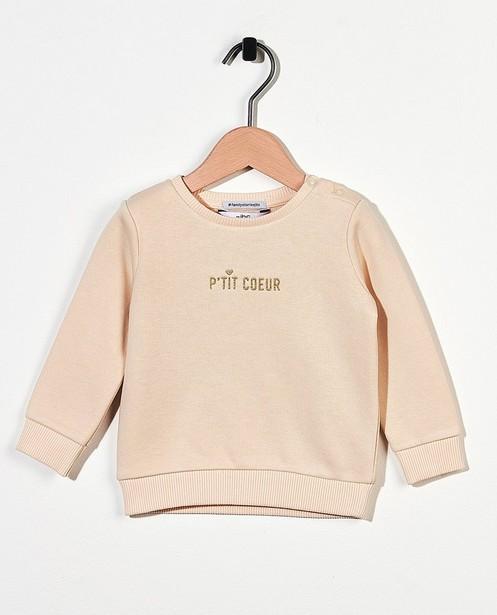 Sweater mit Aufschrift (FR) in Ecru - #familystories - Familystories