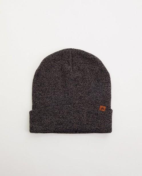 Bonnet noir et gris en tricot - fin tricot - JBC