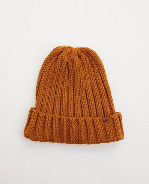 Bonnet ocre à relief côtelé - tricot à grosses mailles - JBC
