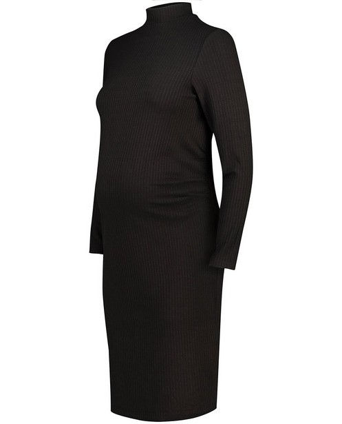 Zwarte jurk met ribreliëf JoliRonde - zwangerschap - Joli Ronde