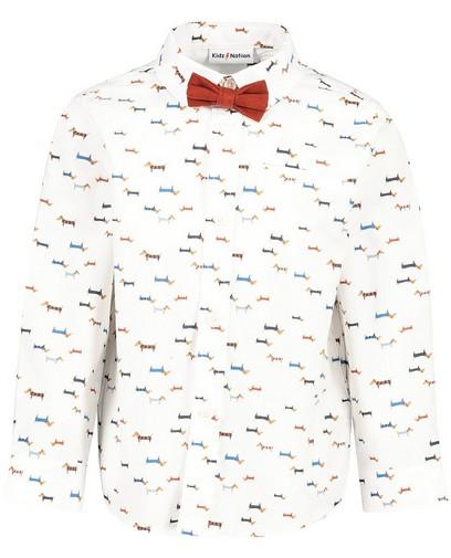 Wit hemd met print en strikje