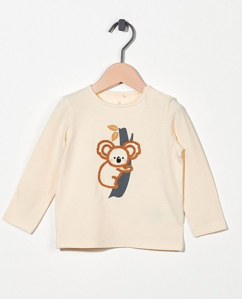 T-shirt beige à manches longues - koala - en coton bio - Cuddles and Smiles