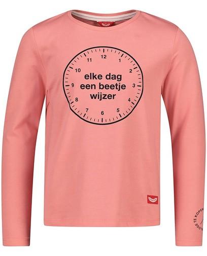 T-shirt rose à manches longues avec imprimé Stratier