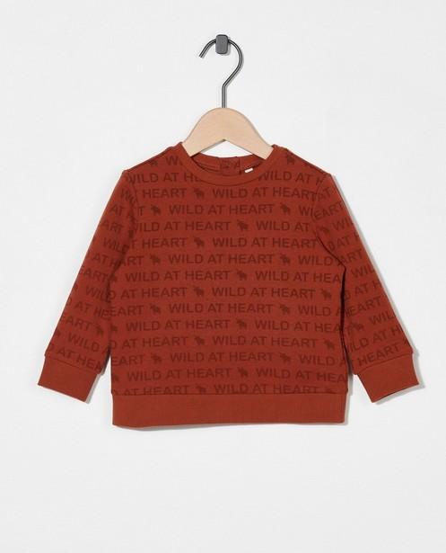Sweat brun en coton bio - à inscription - Cuddles and Smiles