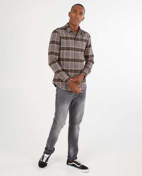 Bruin hemd met ruitpatroon - allover - Quarterback