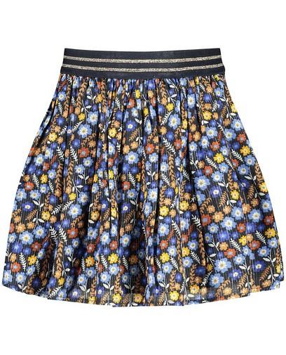 Blauwe rok met bloemetjes