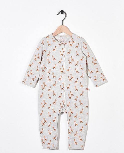 Pyjama gris en coton bio - imprimé intégral de girafes - Cuddles and Smiles