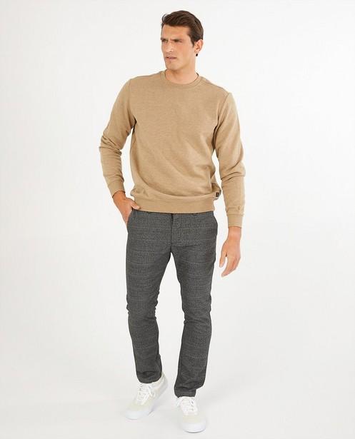 Bruine sweater - gemêleerd - Quarterback