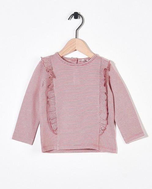 T-shirt rayé à manches longues en coton bio - blanc et rose - Newborn