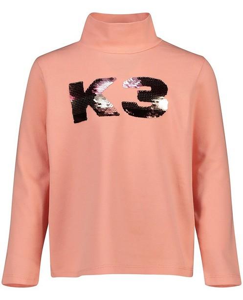 T-shirt rose à manches longues en coton bio - imprimé orné de paillettes - K3