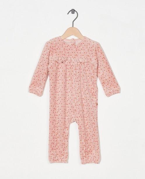 Roze pyjama met stippen - van fleece - Cuddles and Smiles