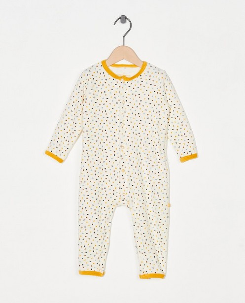 Witte pyjama met allover print - van fleece - Cuddles and Smiles