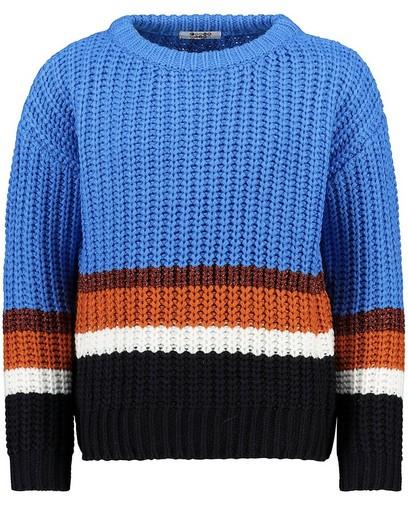 Pull bleu avec color block