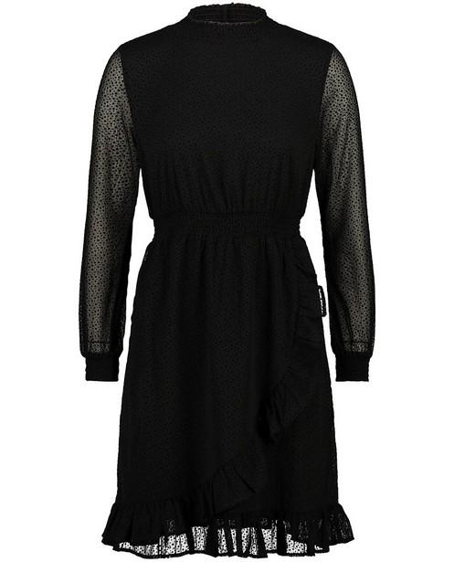 Zwarte jurk met stippenprint Sora - volants - Sora