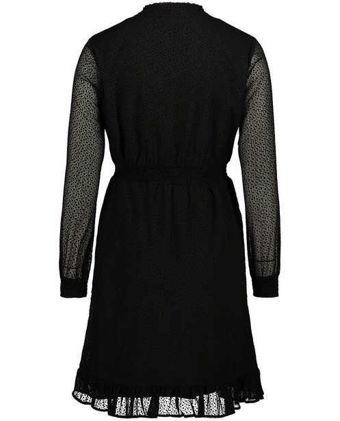 Kleedjes - Zwarte jurk met stippenprint Sora