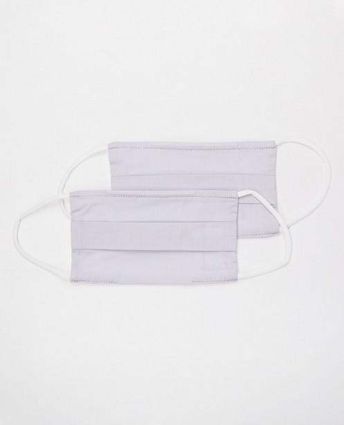 2 lichtgrijze mondmaskers - unisex - set van 2 - JBC