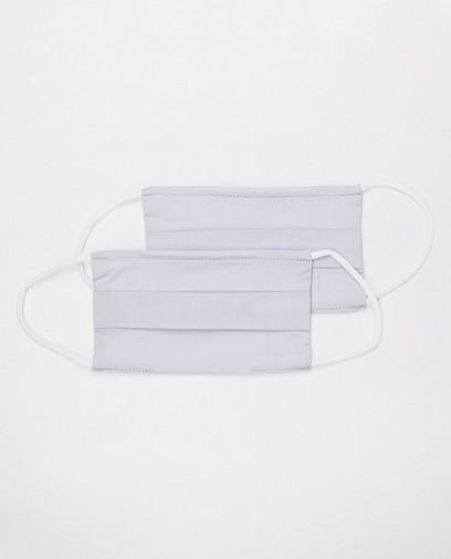 2 lichtgrijze mondmaskers - unisex