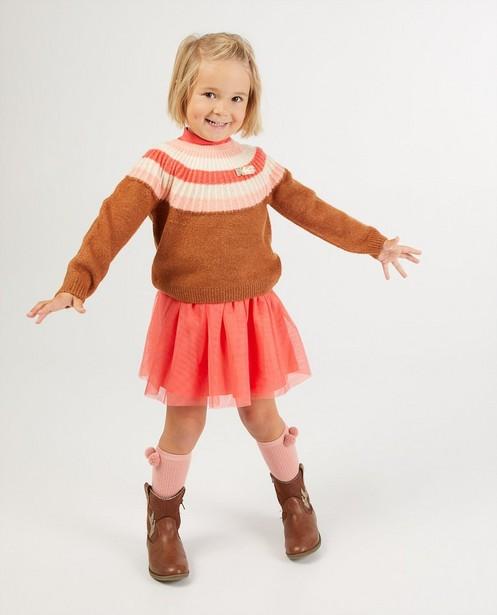 Pull brun à rayures K3 - fin tricot - K3