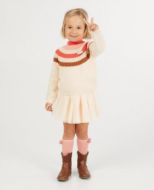 Pull beige à rayures K3 - fin tricot - K3