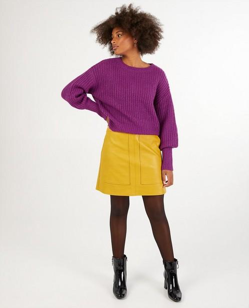 Jupe jaune en similicuir Karen Damen - unie - Karen Damen