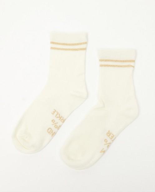 Chaussettes blanches à inscription - fil métallisé - JBC