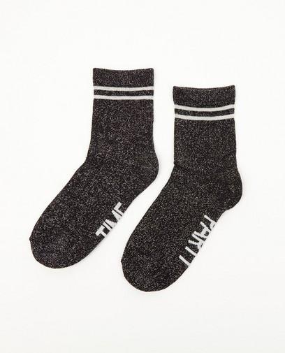 Chaussettes noires, fil métallisé