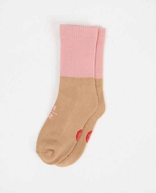 Chaussettes brun-rose Stratier - avec relief côtelé - Stratier