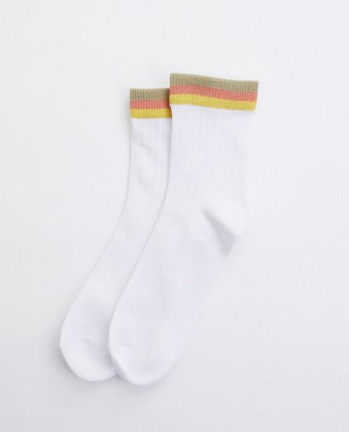 Chaussettes blanches à bord rayé - avec fil métallisé - JBC