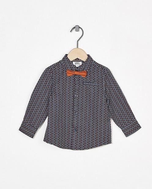 Chemise bleue à imprimé - avec un nœud - Cuddles and Smiles