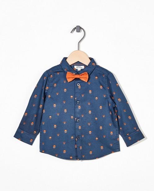 Chemise bleue avec un nœud - imprimé intégral - Cuddles and Smiles