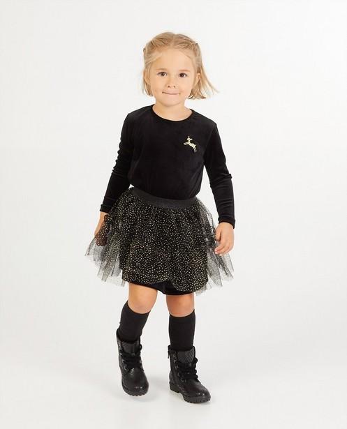 Zwart jurkje met tule - met stippenpatroon - Milla Star