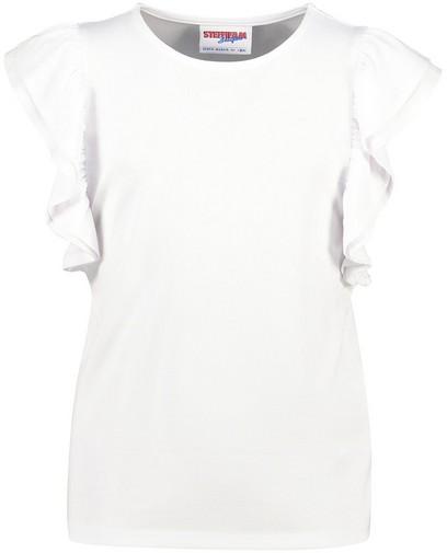 Wit T-shirt met volants Steffi Mercie